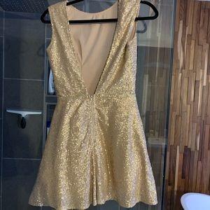 Tobi Champagne Sequin Skater Dress